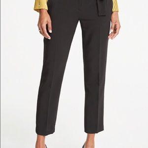 Black Cotton Cropped Pants